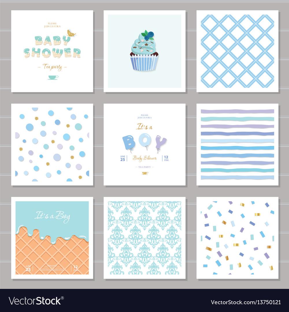 Boy baby shower templates seamless patterns set in