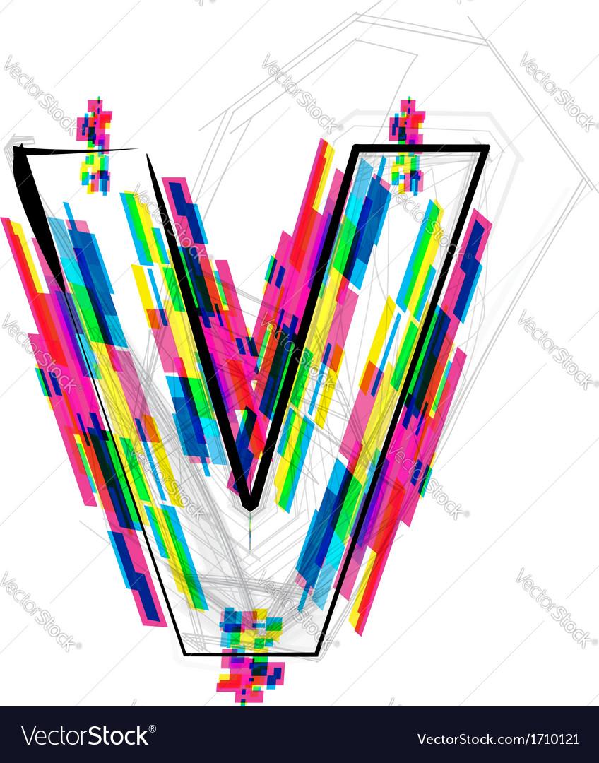 Colorful Font Letter V vector image