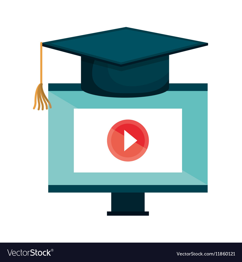 Computer desktop e-learning isolated icon vector image
