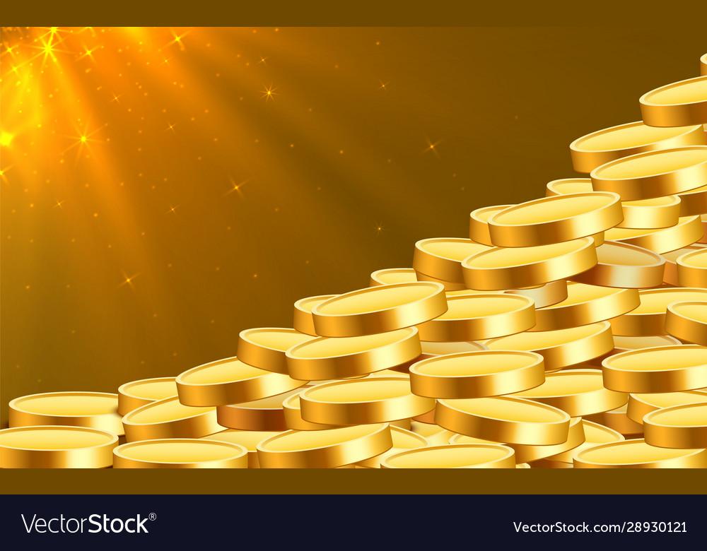 Golden shiny coins big bunch old metal money