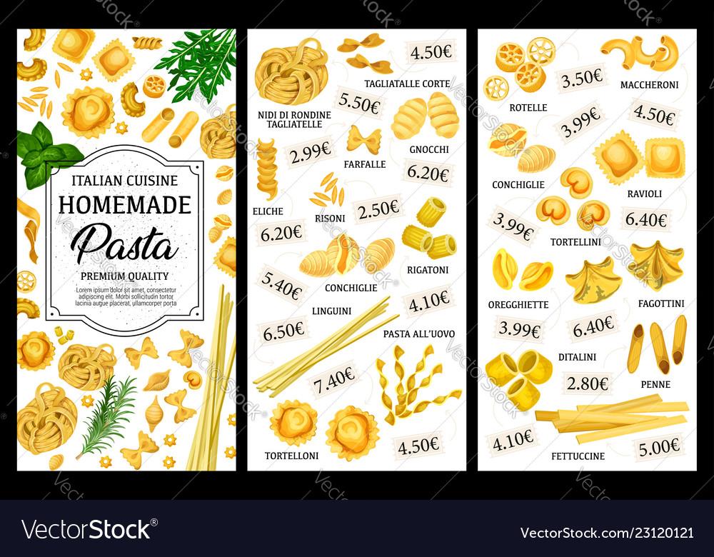 Italian pasta food menu spaghetti and macaroni