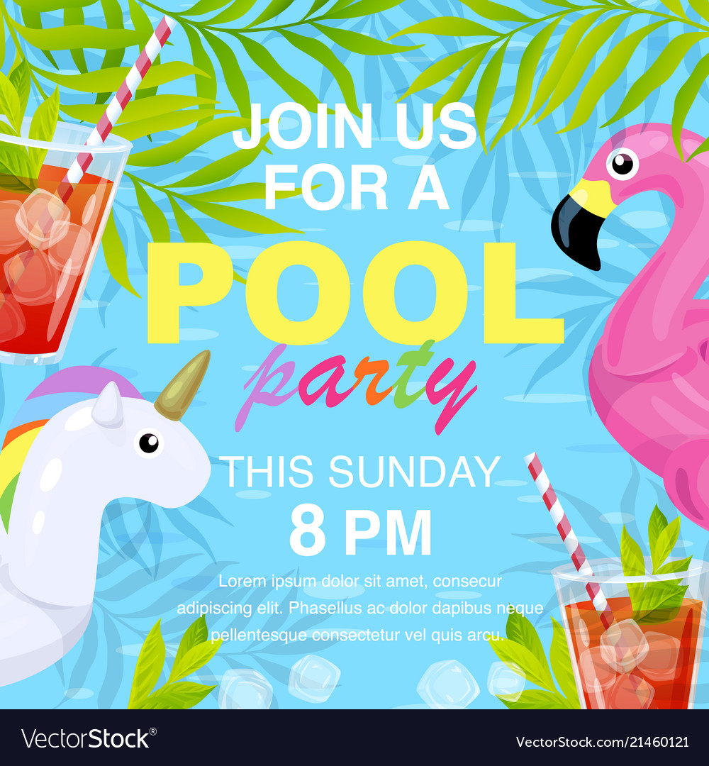 pool party invitation design royalty free vector image