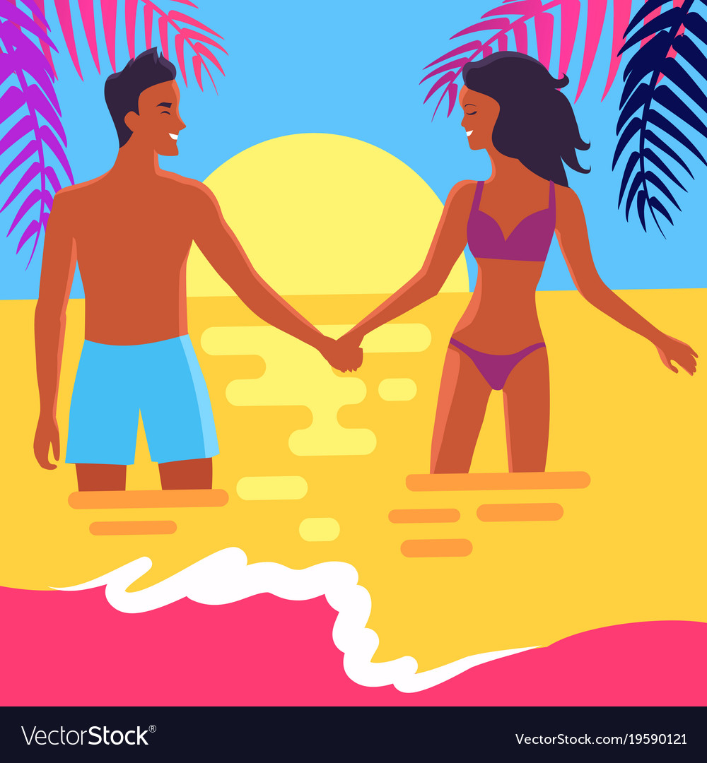 Poster of happy couple standing in sea at sunset