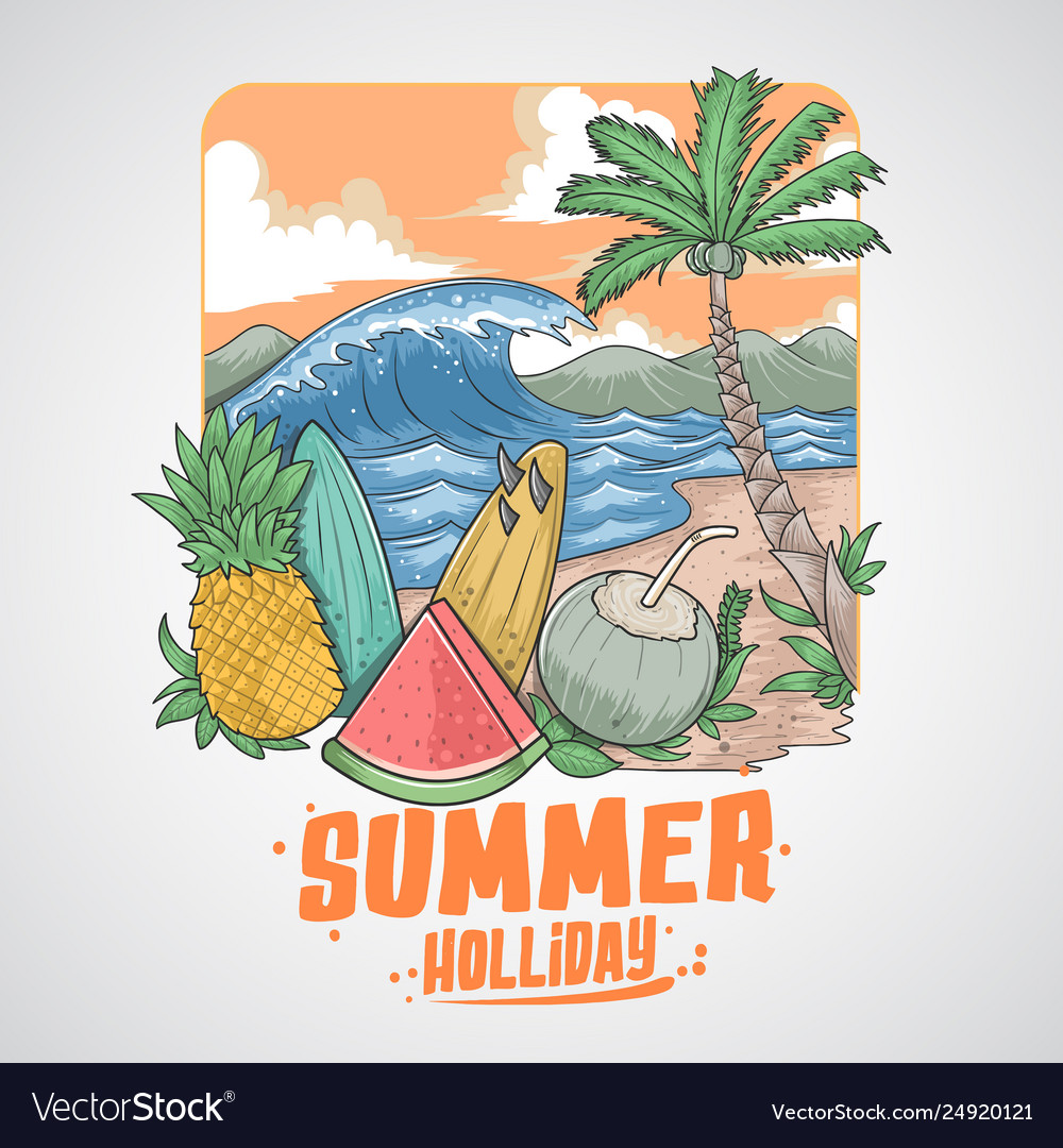Summer beach fruits and coconut tree
