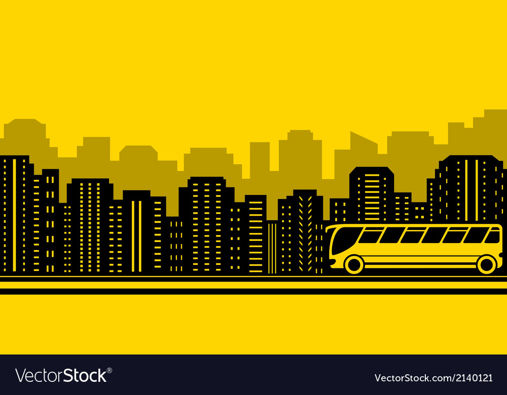 Transport background with town and bus