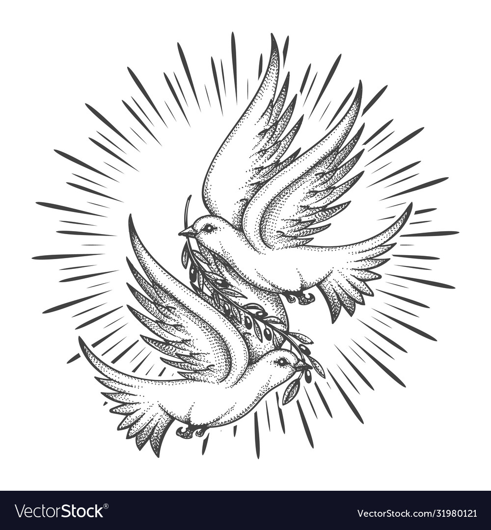 Two pigeons with olive branch tattoo