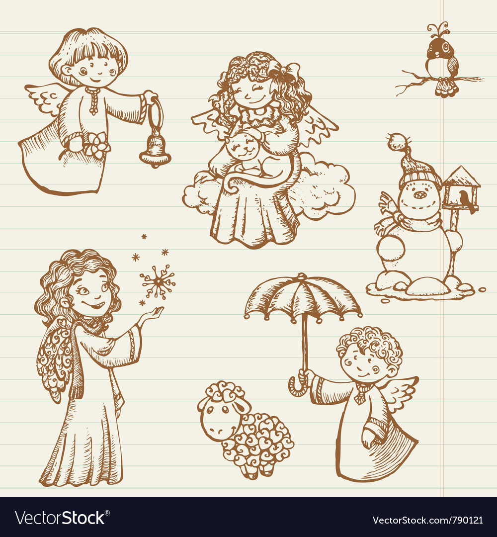 Vintage christmas angels Royalty Free Vector Image