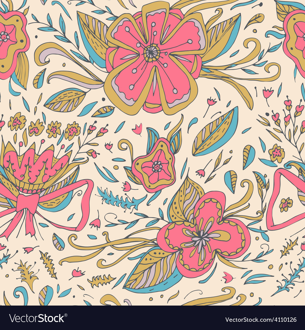 Abstract elegance seamless floral pattern on a