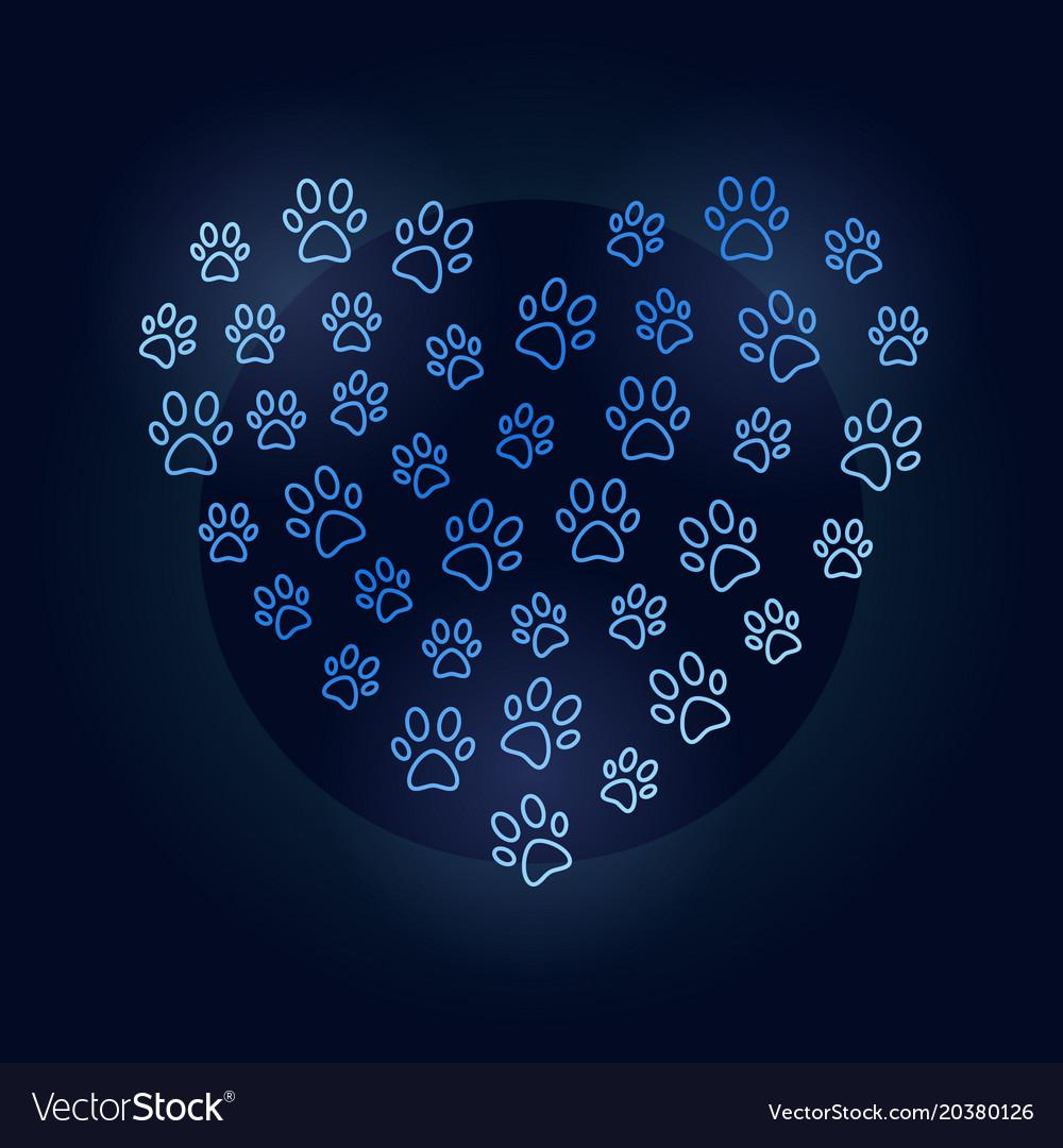 Animals footprints in heart shape blue