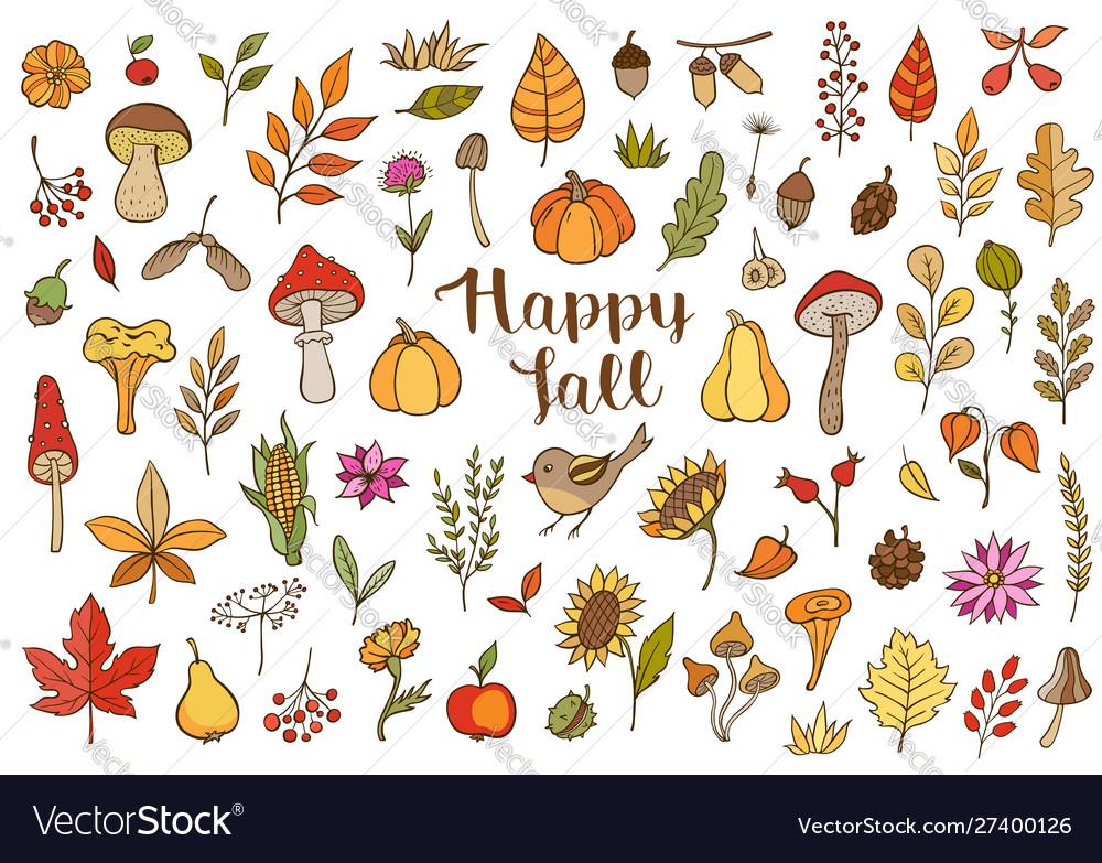 Autumn doodle design elements