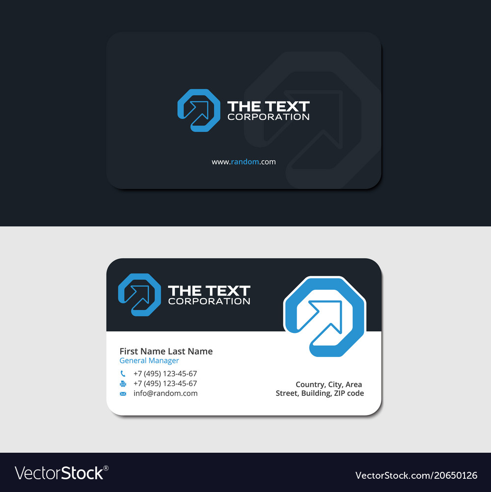Business cards up arrow and octagon blue color Vector Image