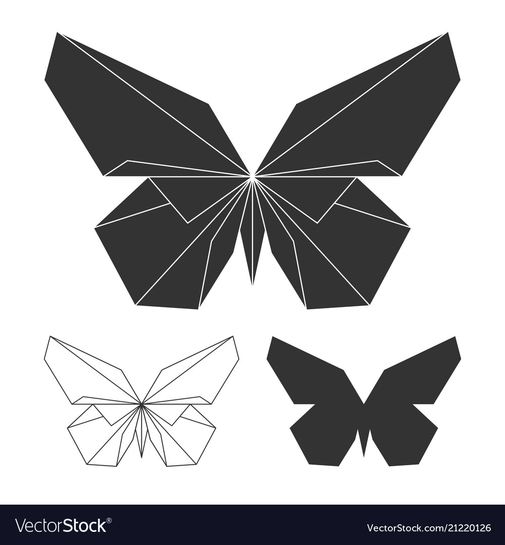 Butterflies logo set line and silhouette