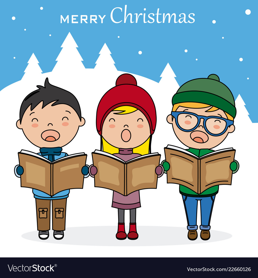 Christmas Singin.Children With Books Singing Christmas Songs