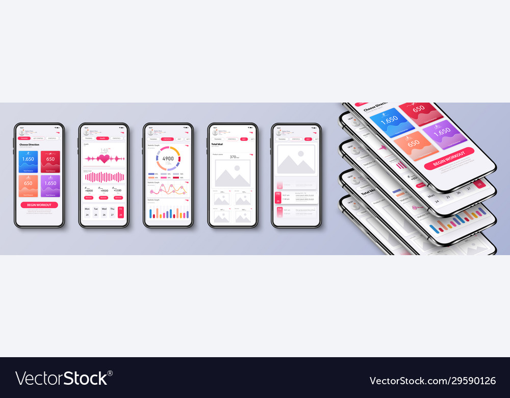 Different ui ux gui screens fitness app and flat