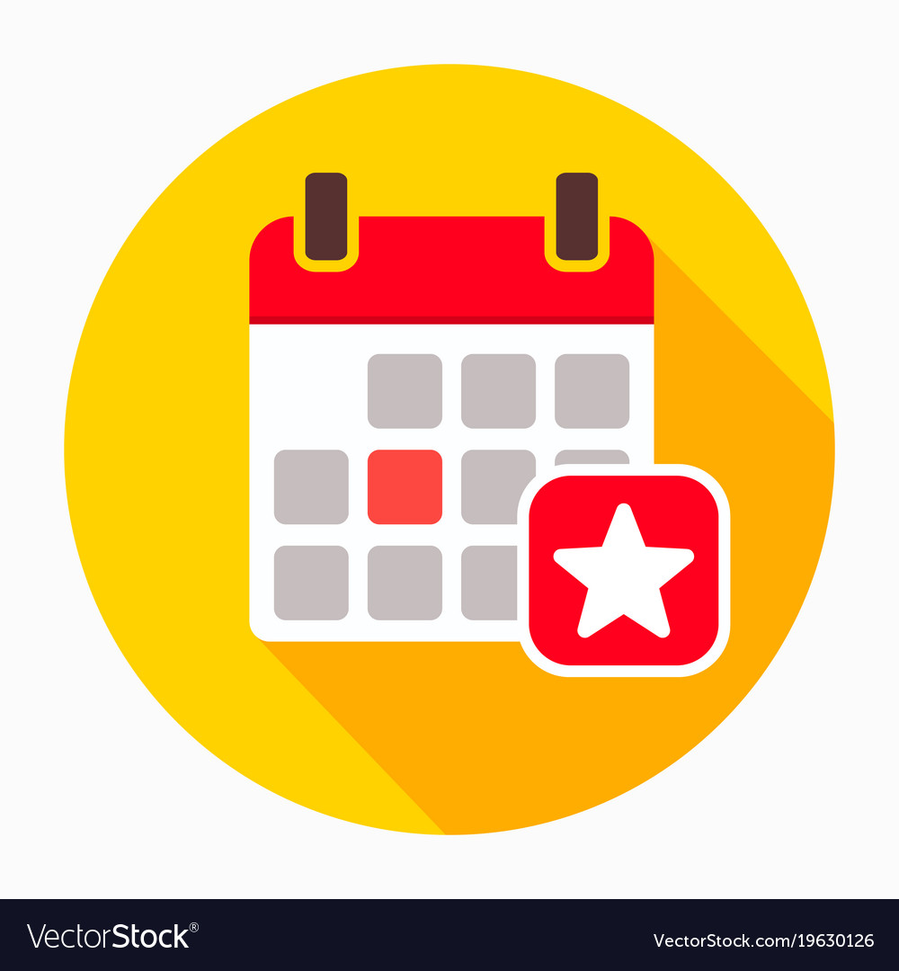 favorite day calendar with star icon royalty free vector
