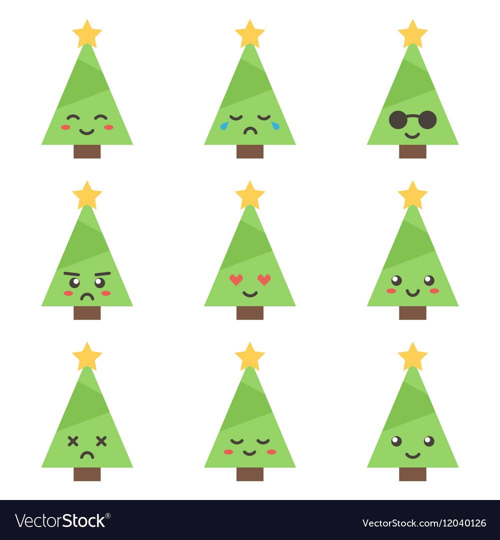 flat design cartoon cute christmas tree characters vectorstock
