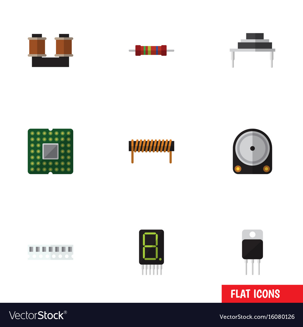 Flat icon technology set of hdd coil copper