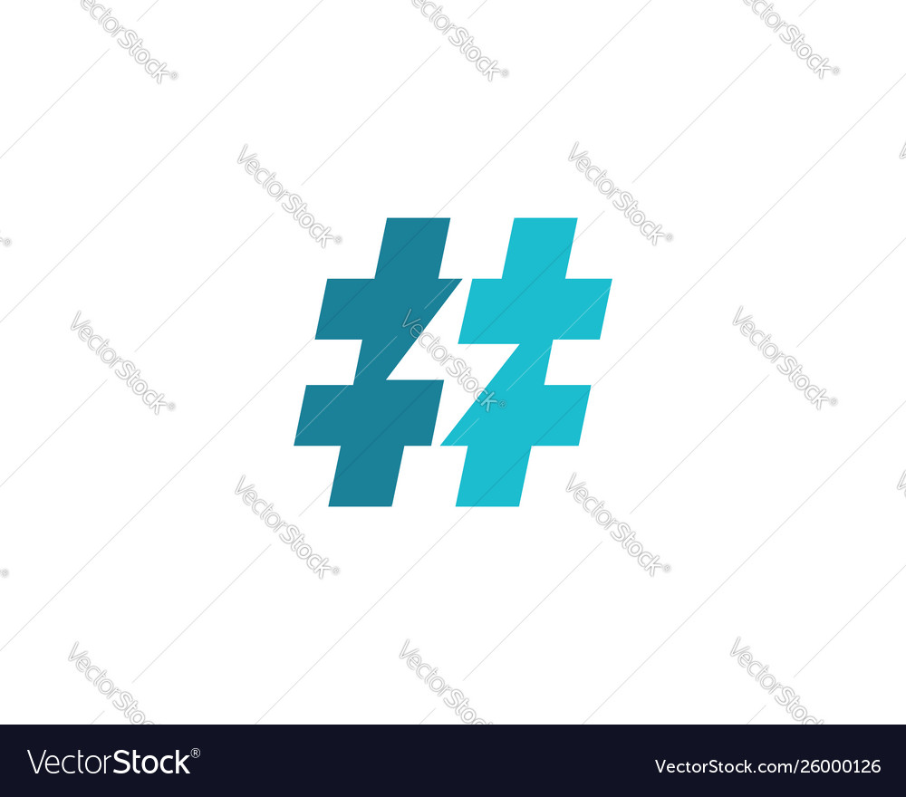Hashtag symbol lightning logo icon design