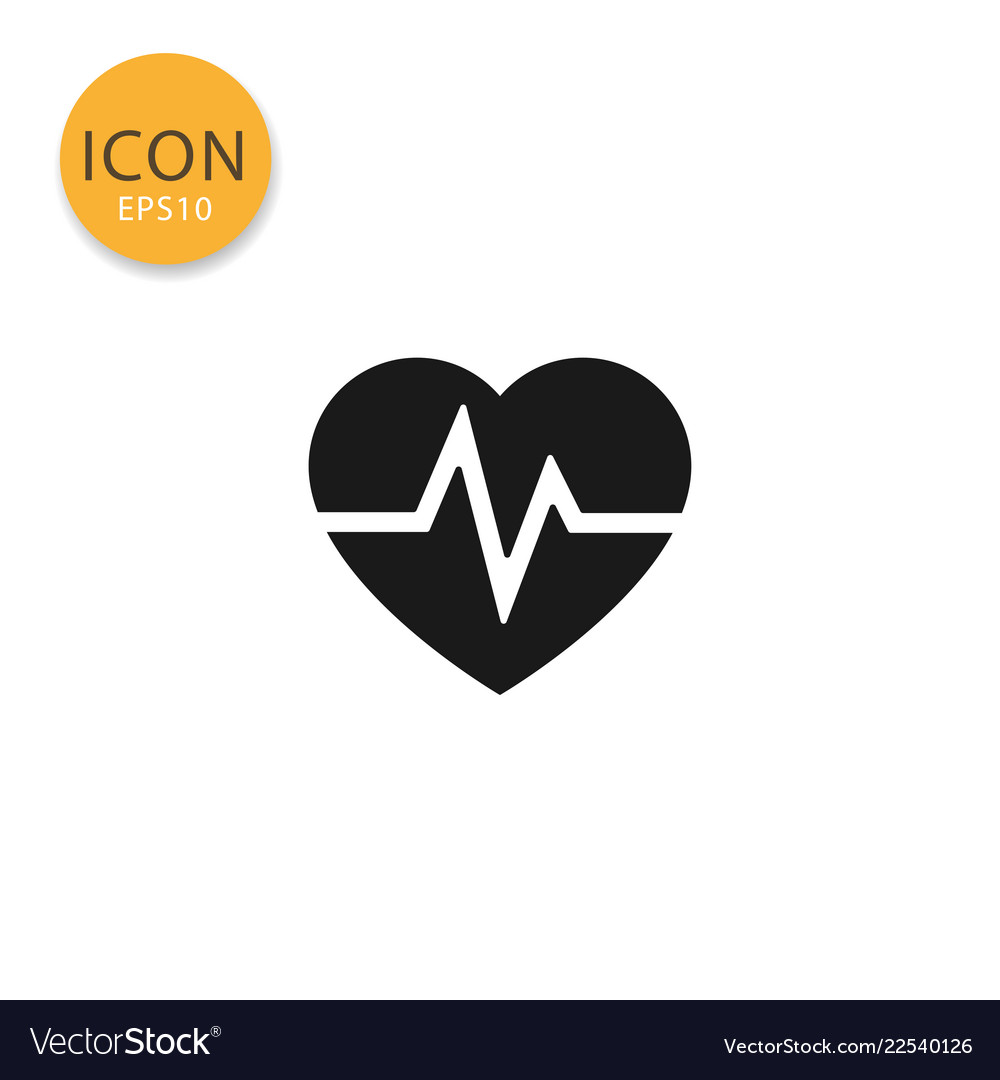 Heartbeat icon isolated flat style