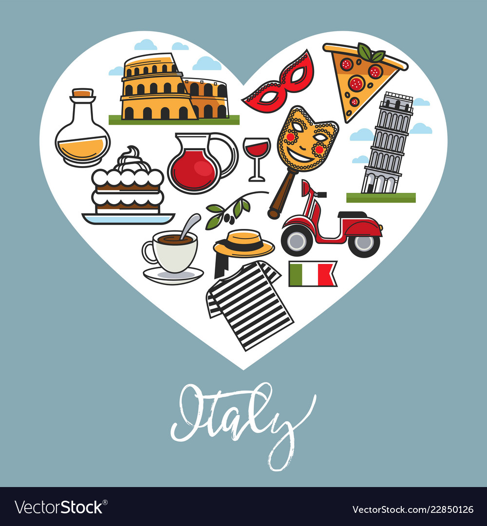 Italy promo poster with national symbols in heart