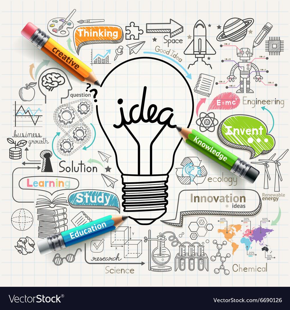 Lightbulb ideas concept doodles icons set