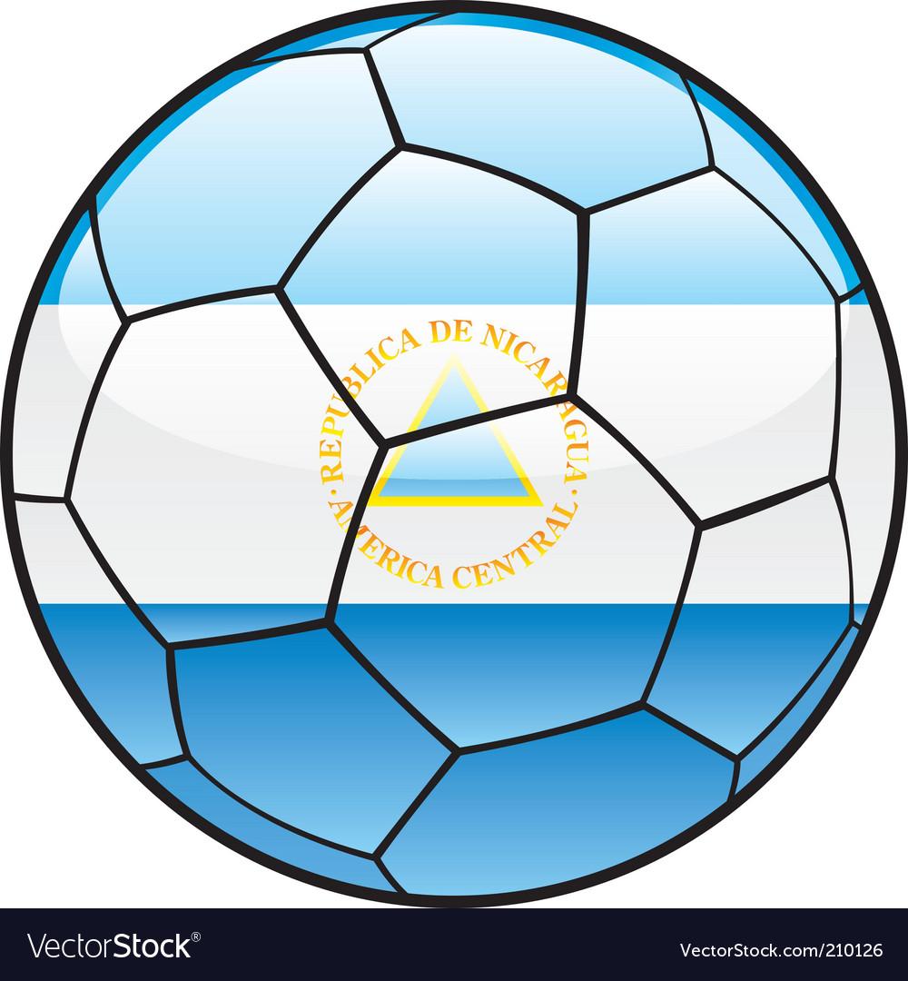 Nicaragua flag on soccer ball vector image