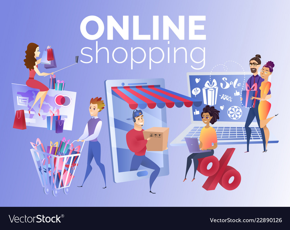 People Shopping Online Cartoon Concept Royalty Free Vector