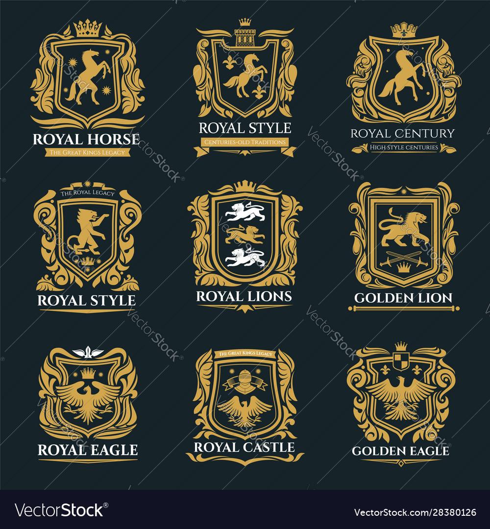 Royal heraldry emblems heraldic lion and horse