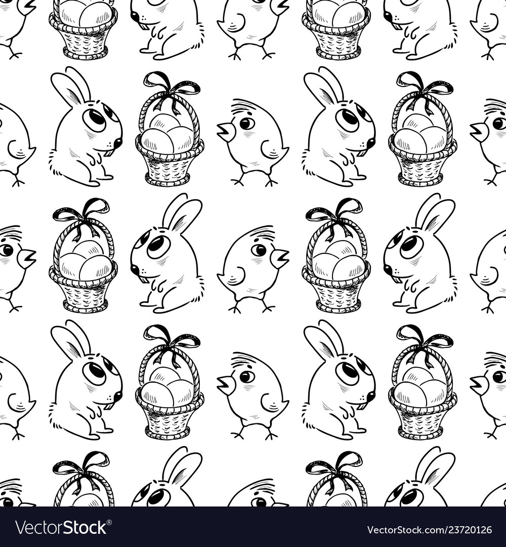 Seamless background of the easter symbols