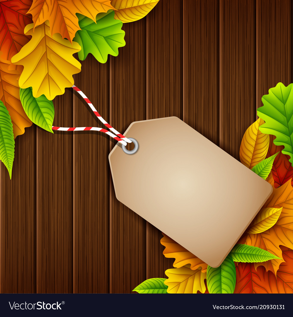 Autumn leaves sale tag on wooden background