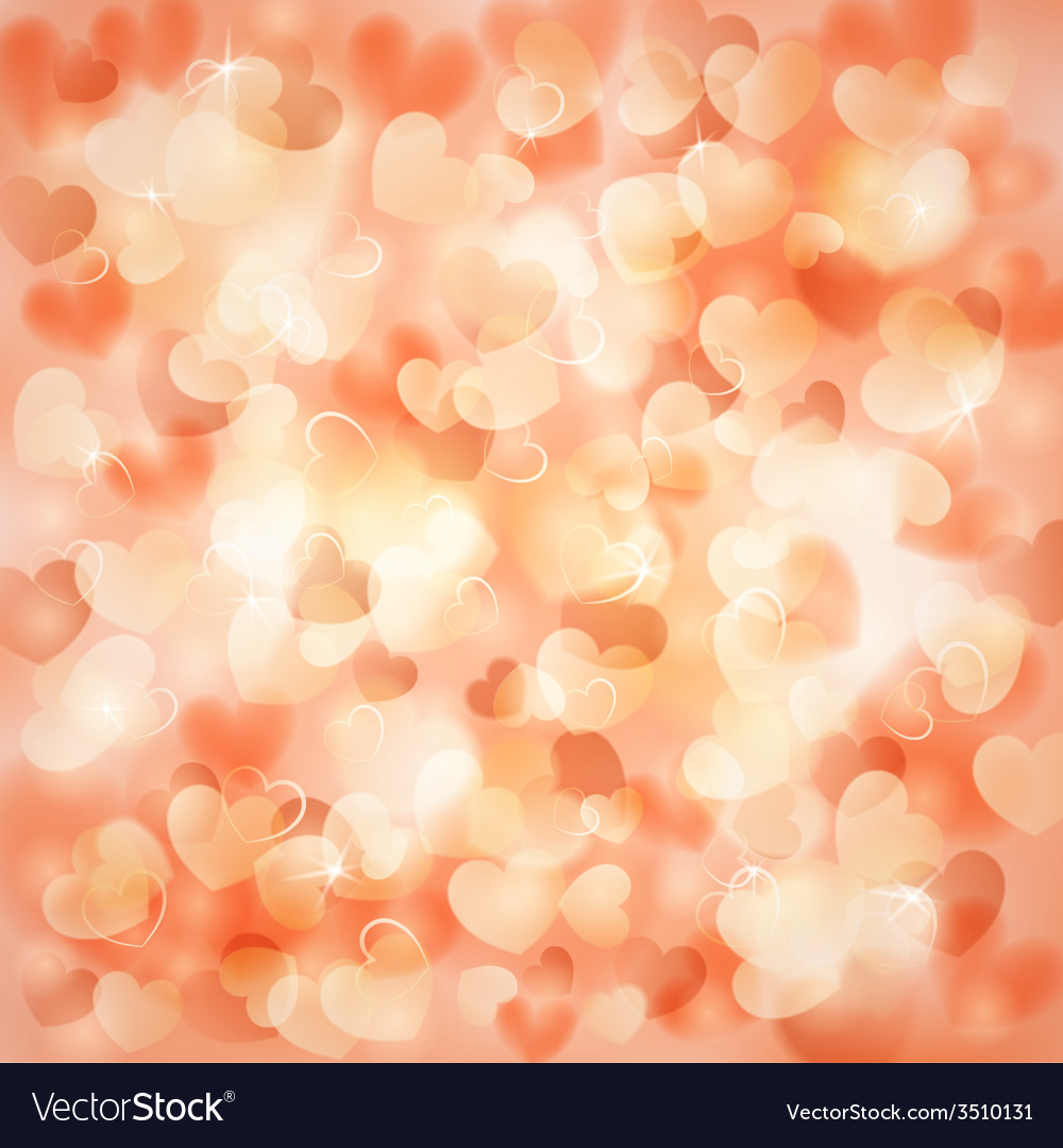 Background With Hearts Color Of A Peach Vector Image