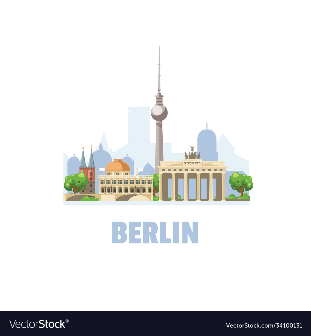 Berlin city skyline cityscape with famous