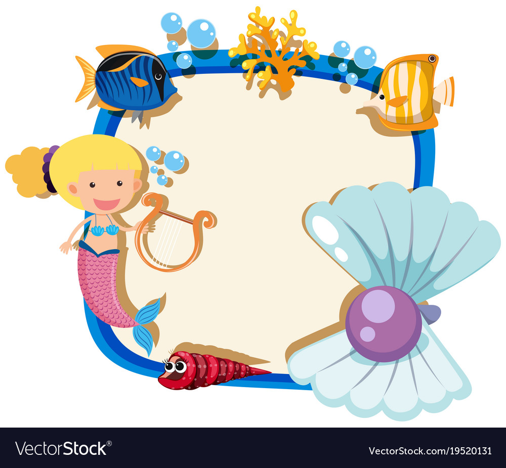 Mermaid Template | Border Template With Mermaid And Pearl Royalty Free Vector