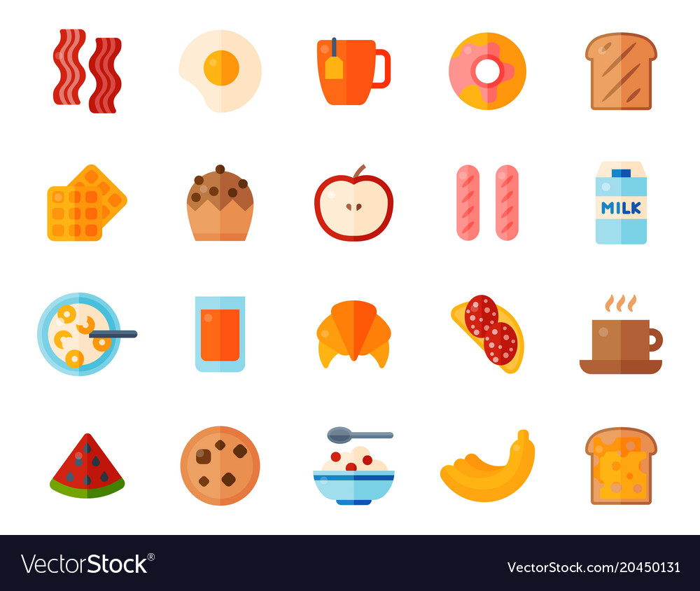 Breakfast healthy food meal icons drinks flat