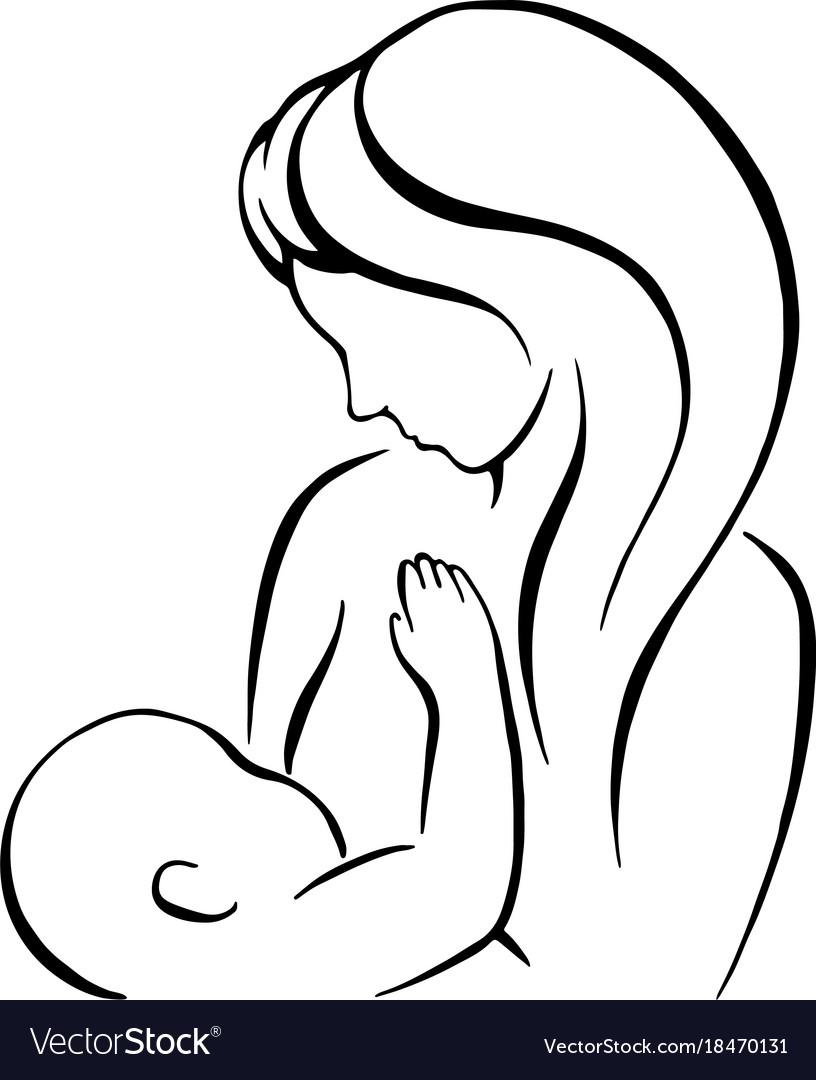 Breast feeding sign mother holding newborn