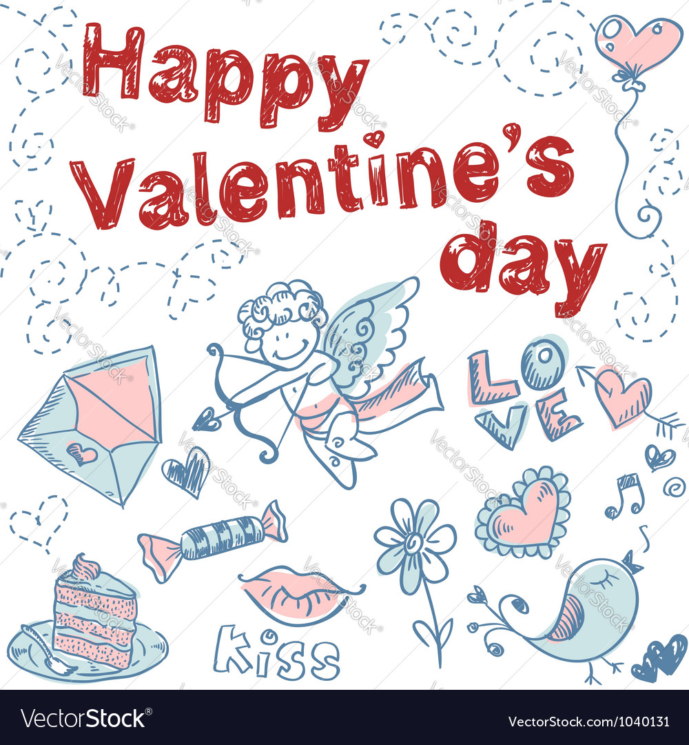 Doodle Valentines day scrapbook love postcard