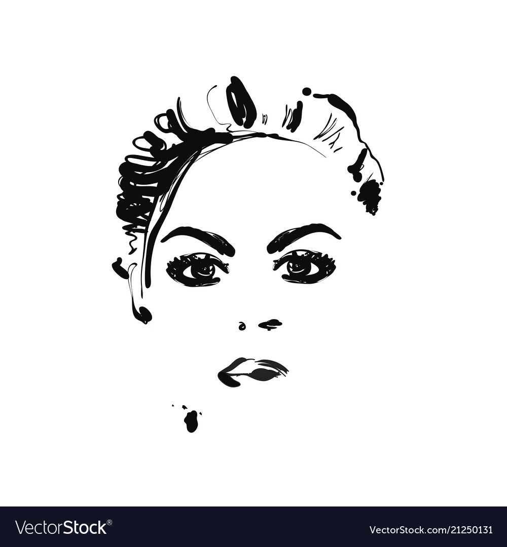 Female Face Fashion Sketch Royalty Free Vector Image