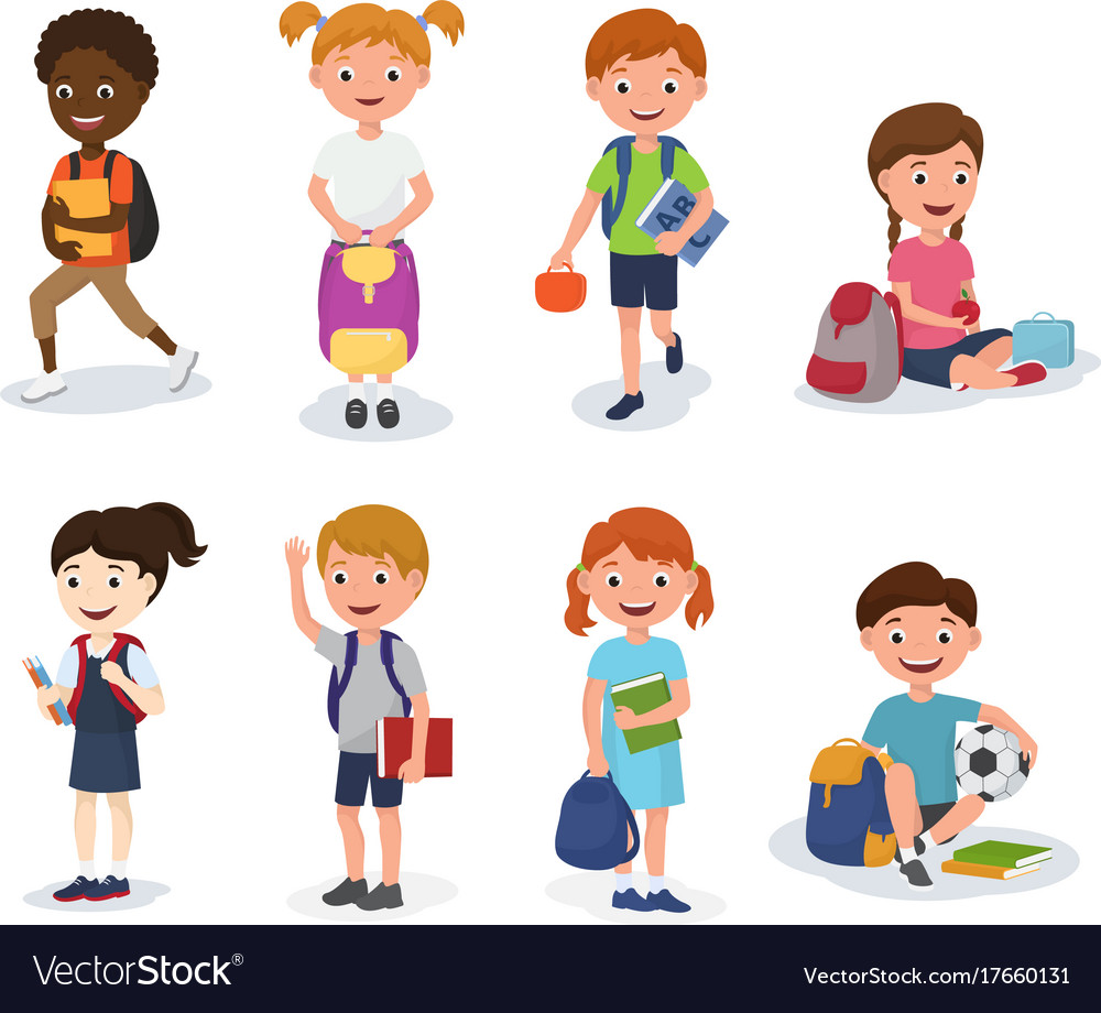 Group of school kids boys and girls children with