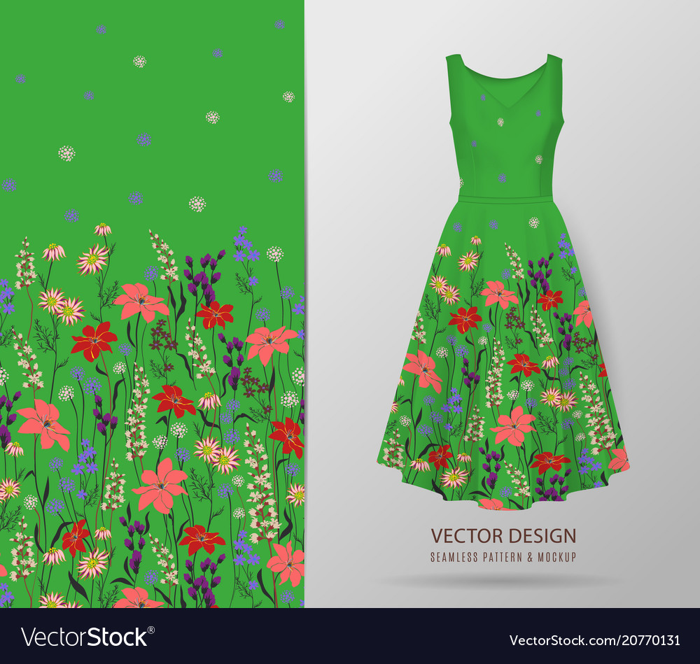 Hand drawn floral pattern on dress mockup