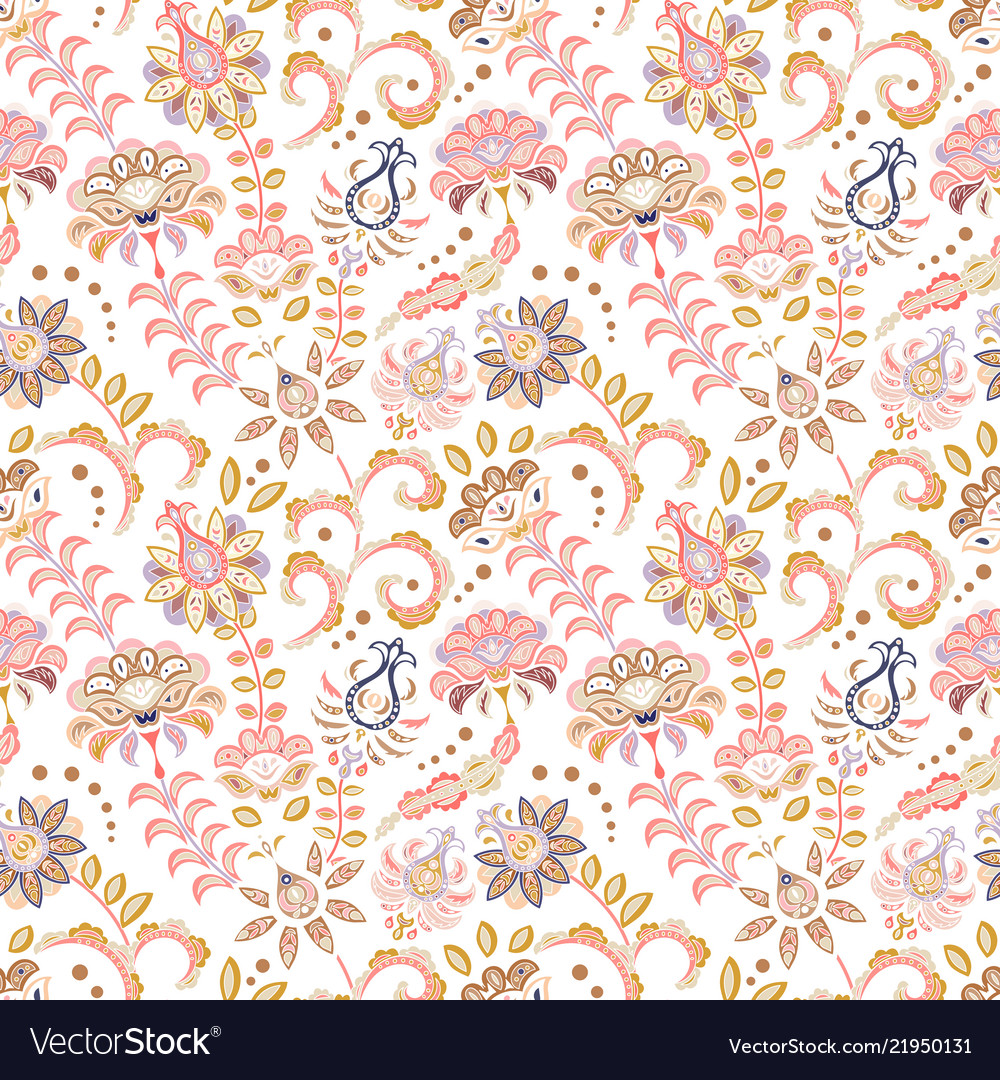 Hand drawn flower seamless pattern colorful