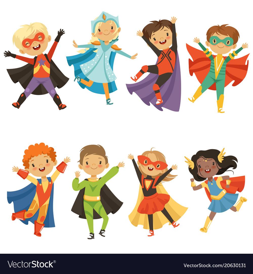 sc 1 st  VectorStock & Kids in superhero costumes funny characters Vector Image