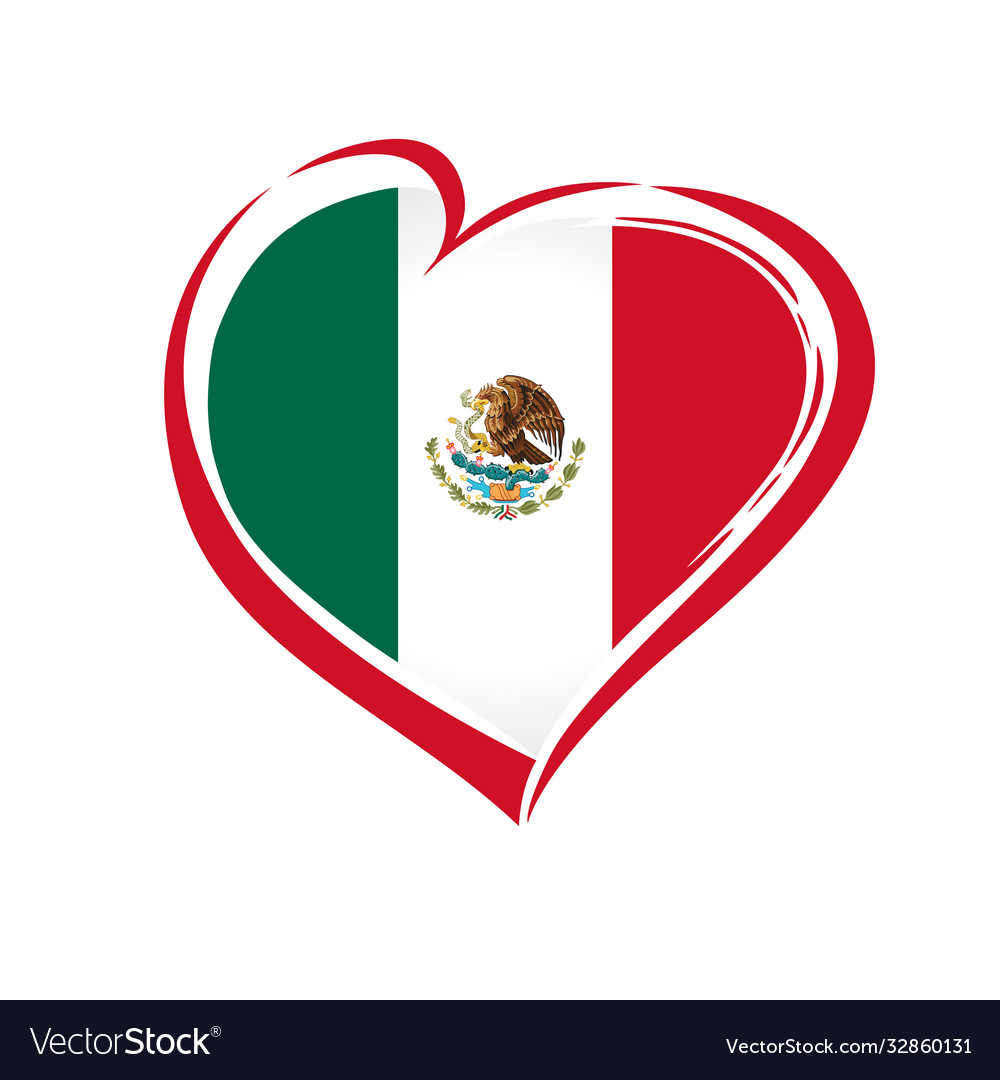 Love mexico emblem colored