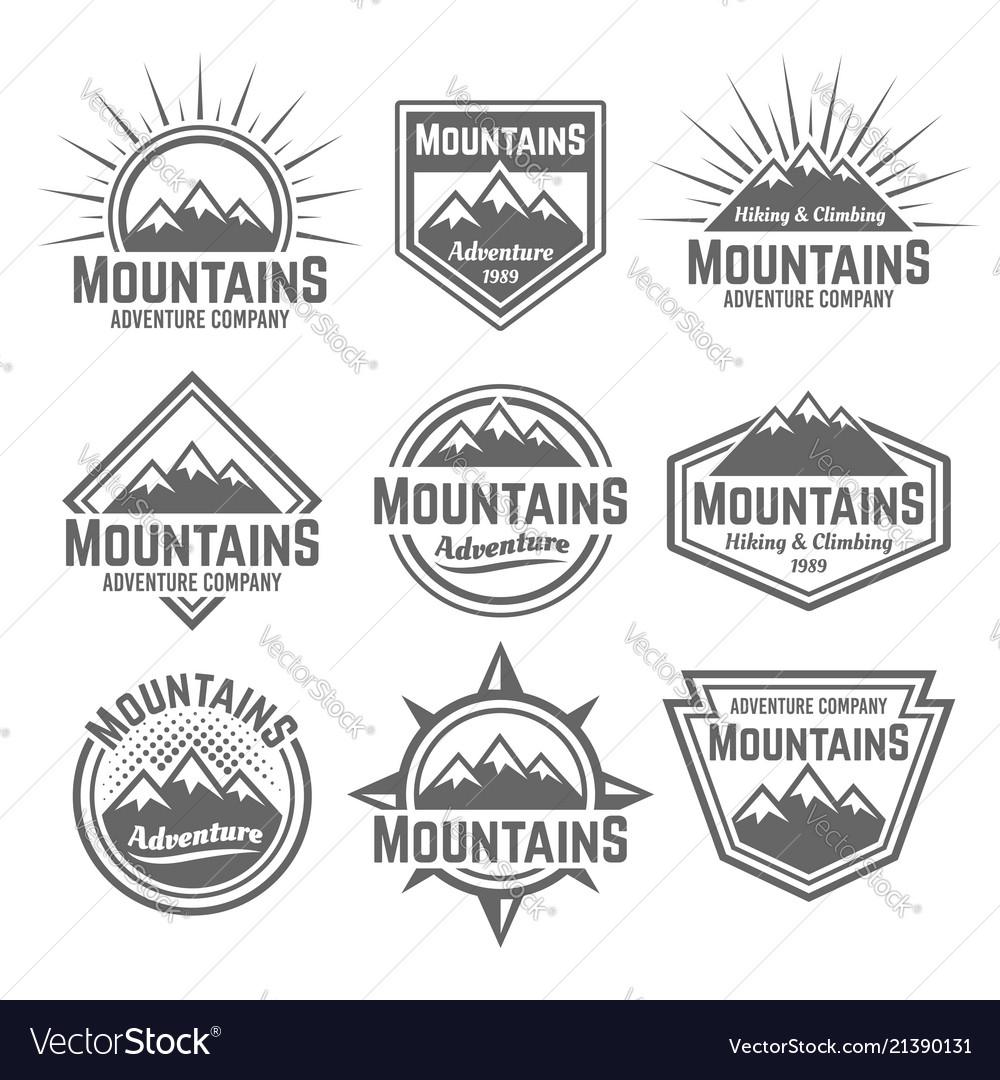 Mountains set monochrome vintage badges