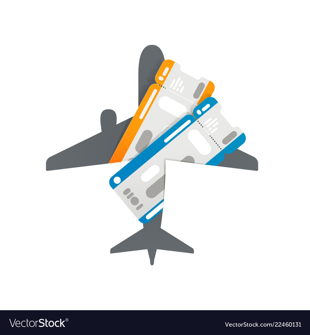 Plane tickets to airplane silhouette