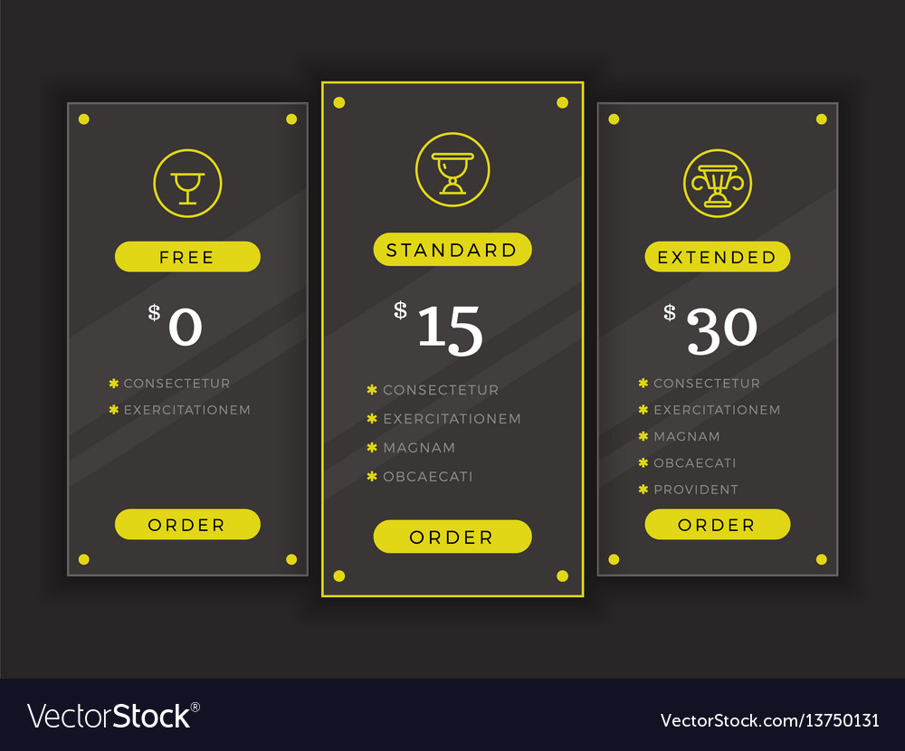 pricing table comparison chart template royalty free vector