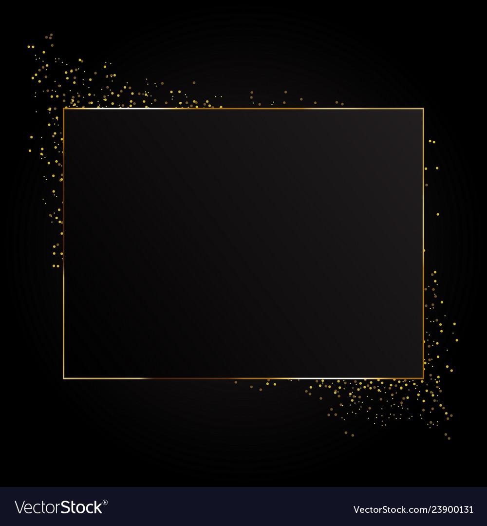 Rectangle sparkle golden frame isolated on black