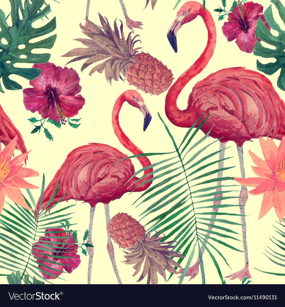 Seamless watercolor pattern with flamingo leaves