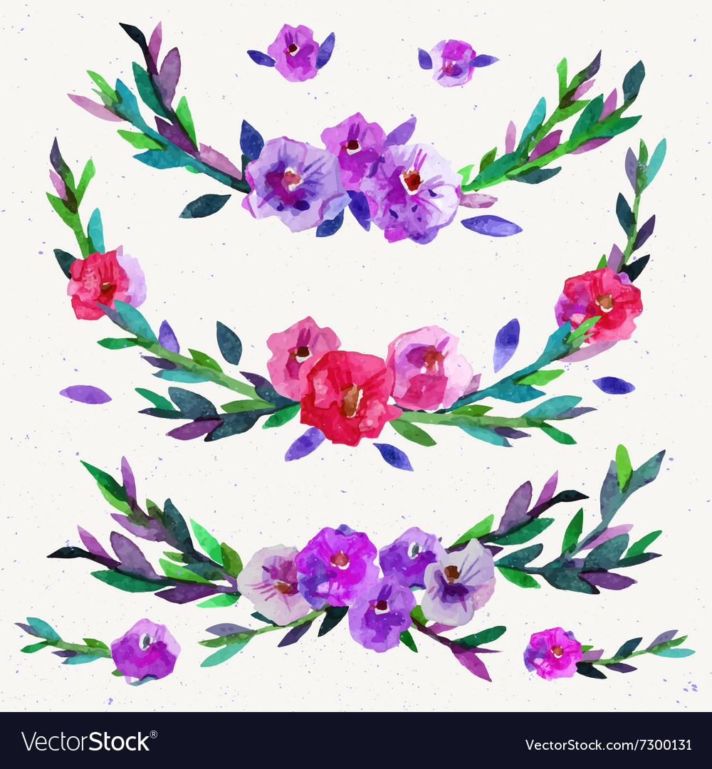 Watercolor symmetrical floral elements isolated on vector image