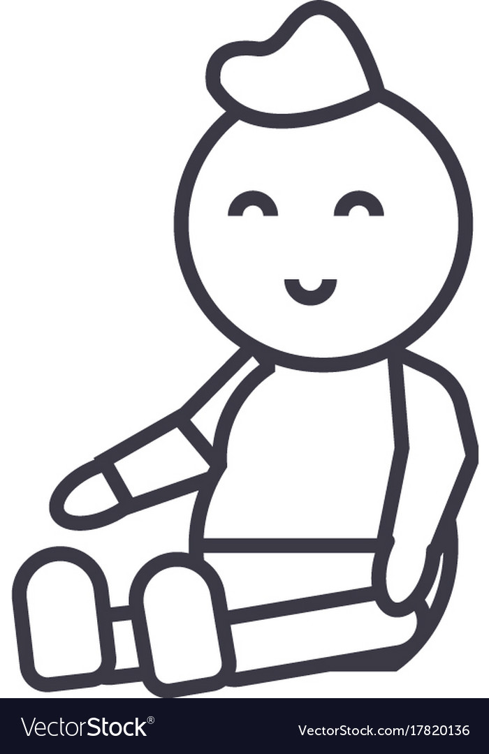 Babynewborn line icon sign vector image