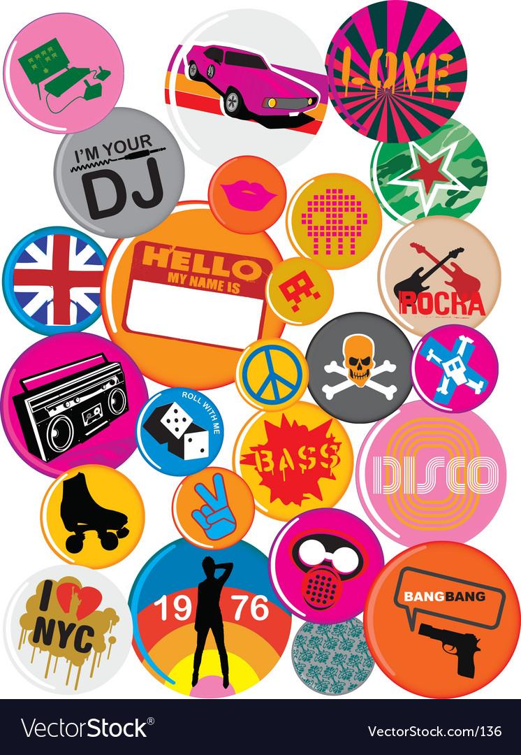 Badges 80s style pop retro